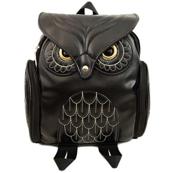 Owl Backpack (£45) ❤ liked on Polyvore featuring bags, backpacks, purses, vegan bags, owl bags, fake leather backpack, faux-leather backpack and knapsack bag