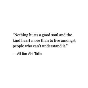 """Nothing hurts a good soul and the kind heart more than to live amongst people who can't understand it."" -- Ali lbn Abi Talib"