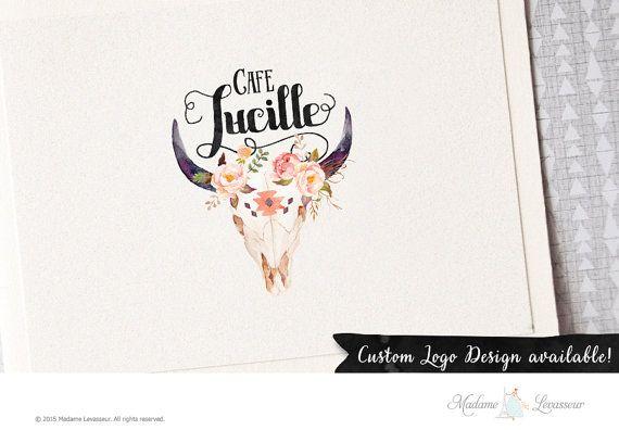 Premade logo design floral skull logo deer antler flower watercolor logo websites logo blog logo rustic woodland logo restaurant logo