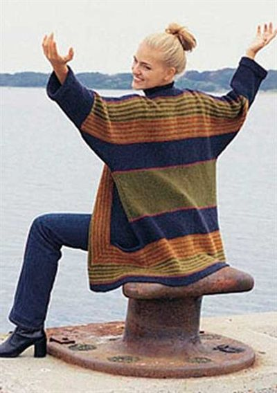 Pagoda knit long jacket by Hanne Falkenberg - knit from the hem to the shoulders in garter stitch back and forth