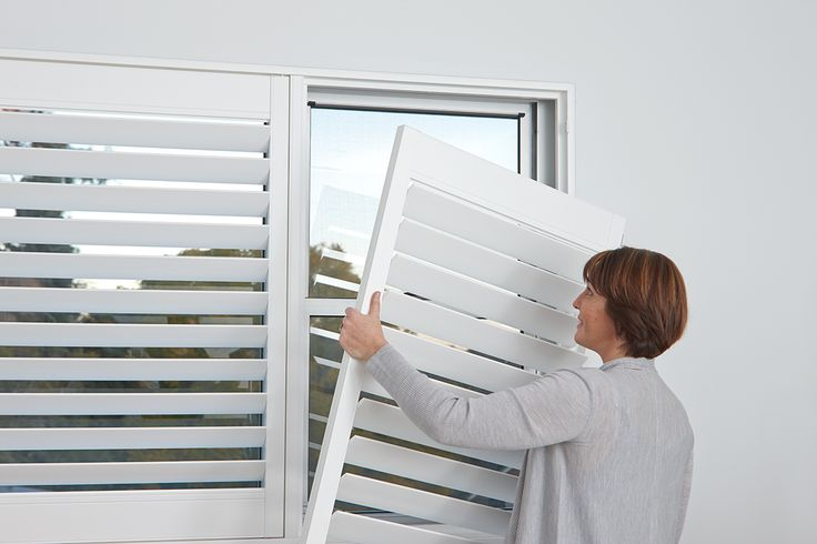 Luxaflex Polyresin Shutters are virtually maintenance free because removing the shutters for cleaning is a breeze due to the simple two-part hinges and it being ultra-lightweight.#luxaflex #polyresinshutters #shutters #blinds #homedecor #windowfashions #windows #home #style