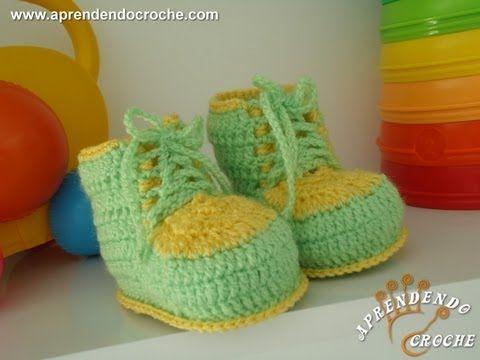 Sapatinho de Crochê Bebê Brasil - Aprendendo Croche
