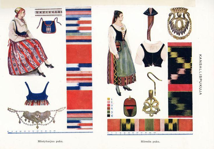 Puulaveden puku ja Etelä-Pohjanmaan puku.| The Puulavesi/Mäntyharju and the Härmä folk dresses, Finland