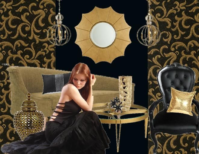 Bold Black Gold Living Room Created Using Sampleboard Interior
