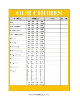 Sharing household chores between roommates or siblings is easier when you can list them all in one place. Free to download and print