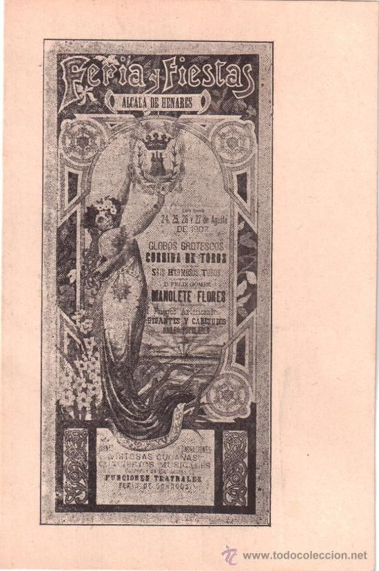 FERIA Y FIESTAS. ALCALÁ DE HENARES. 1907. (Postales - España - Comunidad de Madrid Antigua (hasta 1939) - Madrid Provincia)