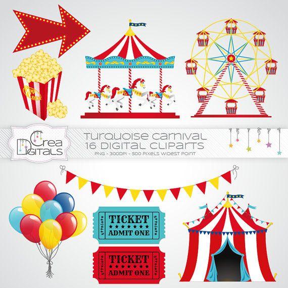 Blau Und Rot Karneval / Zirkus 16 Von CreaDigitals Auf Etsy