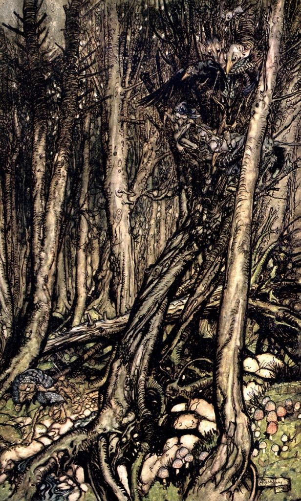 At the back of this little tongue of land there lay a fearsome forest right perilous to traverse - Undine, illust by Arthur Rackham, 1909