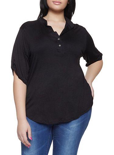 961e7e32711 Plus Size Tabbed Sleeve Henley Shirt - 1917074286002