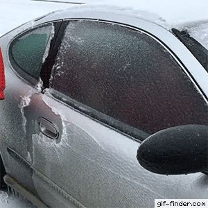 Driver Breaks Through Ice Window for a Bottle of Beer