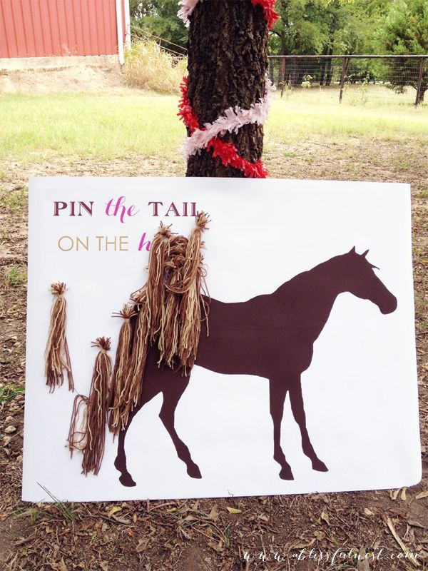 Create a oversized board with a horse silhouette for a pin the tail on the horse game! Horse party activities.