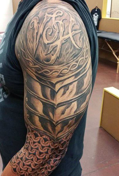 Steel Armor Tattoo For Guys