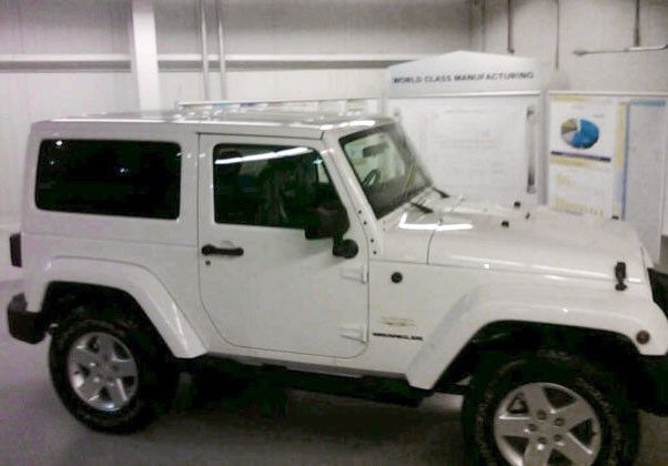 White on white Jeep Wrangler...if only it got some reasonable gas mileage.