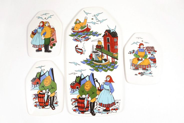 Vintage Set of 4 Figgjo Flint Norway Torskefiske Wall Art Plaques Fishing Scenes in Pottery & Glass, Pottery & China, Art Pottery, Scandinavian Pottery | eBay