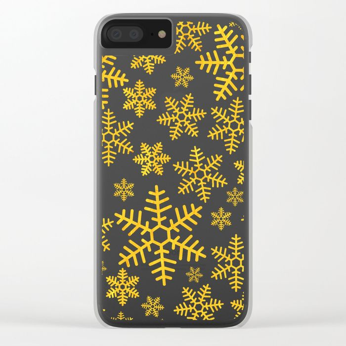 Christmas Snowflakes Clear iPhone Case by Fimbis        iPhone x, iPhone 8, snowflakes, transparent, gold, festive, xmas, fashion,