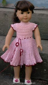 Free crochet pattern. Pattern category: Doll Clothes American Girl Doll. Thread weight yarn. 150-300 yrds. Features: In-the-round, Round Yoke, Seamless, Top-Down. Intermediate difficulty level.