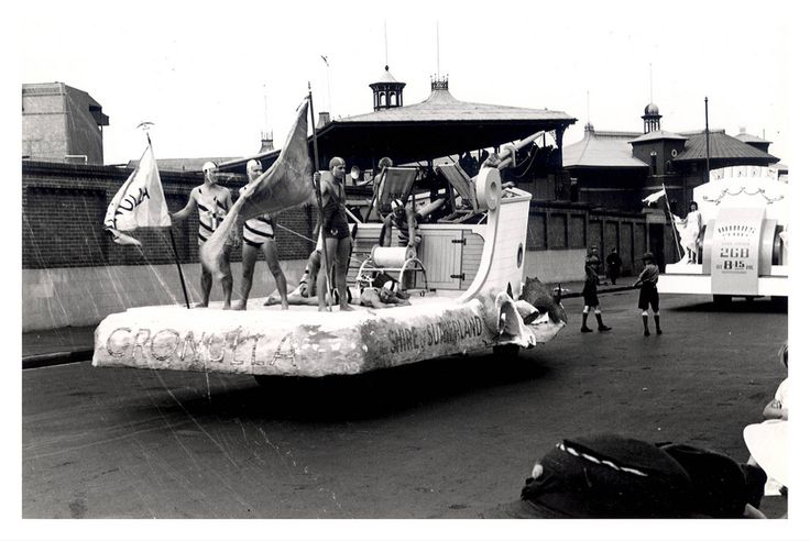 "Image 21806145 - A Cronulla Lifesavers float, which formed part of the ""Australia's March to Nationhood"" parade on January 26th, 1938. This image was taken in Driver Avenue, Moore Park. [RAHS Australia Day 1938 - Sesquicentenary Celebrations Collection]"