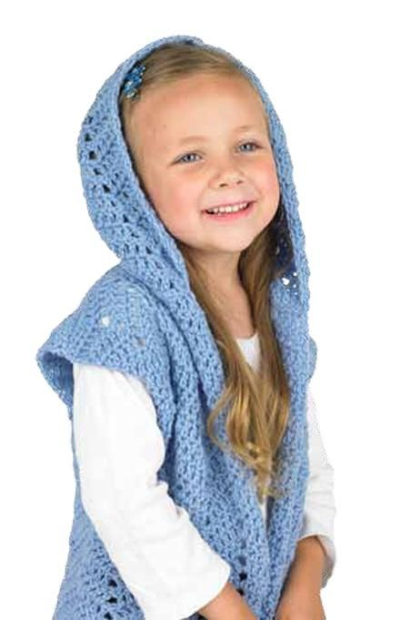 Chevron children's hooded vest: free crochet pattern