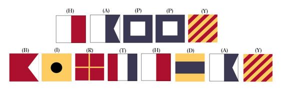 printable garland: spell out Happy Birthday in nautical flag code