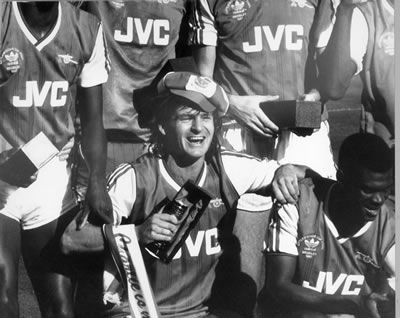 Charlie Nicholas of Arsenal celebrates his double in the Littlewoods cup final against Liverpool in 1987..