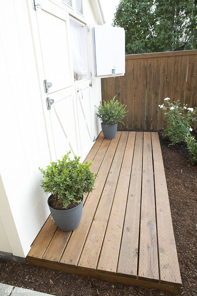 Like the planked teak deck.   She Shed Ella Claire | deck from a cozy cottage retreat