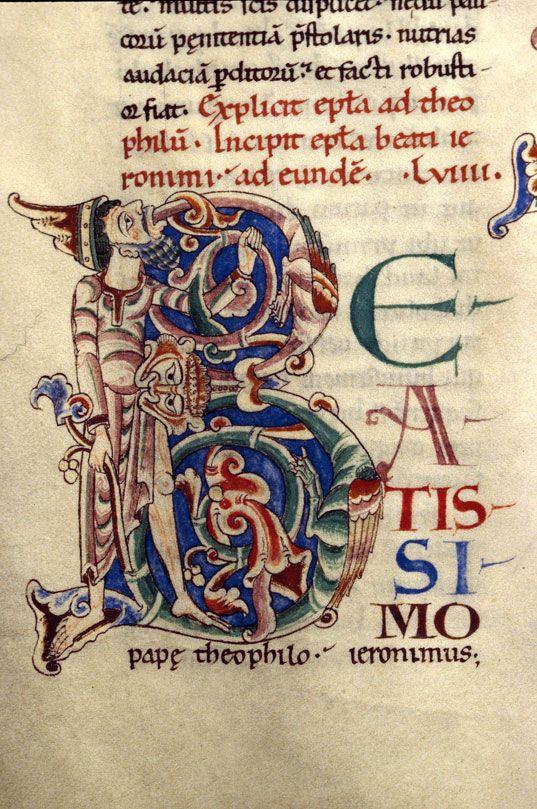 Bibliothèque municipale de Dijon  - ms. 0135, f. 092v Epistulae/Sermones / Hieronymus. - Homme et hybrides zoomorphes dans des végétaux « cliché CNRS - IRHT »