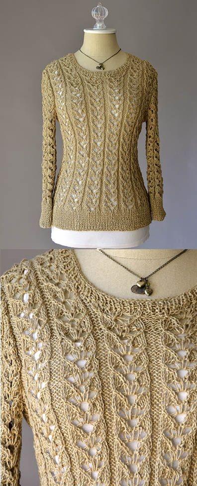 Free Knitting Pattern für einen Lace Sweater Just Breathe. Allover-Lochmuster für … #knittingpatterns