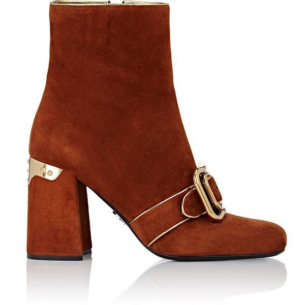 Prada Women's Buckle-Detailed Ankle Boots ($439) ❤ liked on Polyvore featuring shoes, boots, ankle booties, ankle boots, tan, buckle ankle boots, tan ankle boots, high heel booties and tan leather boots