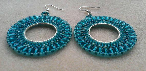 Gorgeous, large earrings for the Teal lover ;) https://www.etsy.com/listing/215648622/beaded-teal-hoop-earrings-large-handmade
