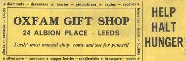 Poster: 'Oxfam Gift Shop 24 ALBION PLACE LEEDS Leeds' most unusual gift shop - come and see for yourself HELP HALT HUNGER', no image. Yellow background, black text. Identical on the reverse.
