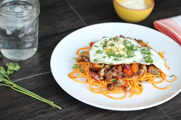 Fried Egg and Sweet Potato Noodles with Bacon & Vegetable Hash # ...