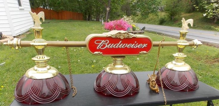Vintage Budweiser Pool Table Hanging Light Game Room Bar Mancave Beer MIDCENTURY