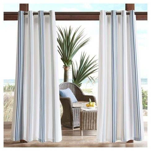 Create a true outdoor room with the Ventura Printed Stripe 3M Scotchgard Outdoor Panel. This outdoor curtain can provide privacy and section off sitting areas from play areas.