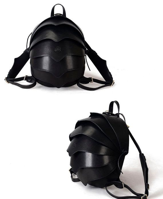 Leather Backpack or Crossbody Bag-Small Black Beetle by KiliDesign