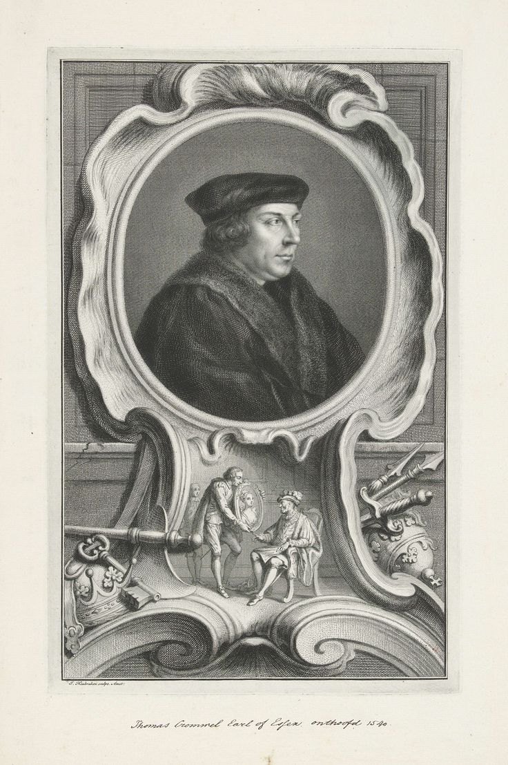Jacob Houbraken   Portret van Thomas Cromwell, Jacob Houbraken, Hans Holbein, 1737 - 1739   Portret van Thomas Cromwell. Onder het portret een afbeelding waarin Thomas Cromwell aan Henrik VIII het portret toont van Anna van Kleef.