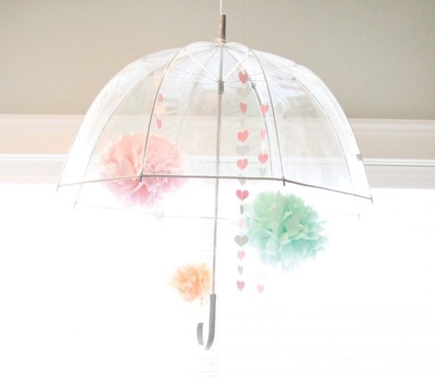Bridal shower umbrella decoration. I like the idea of looking up into the umbrella and seeing something. Something to fill that space.