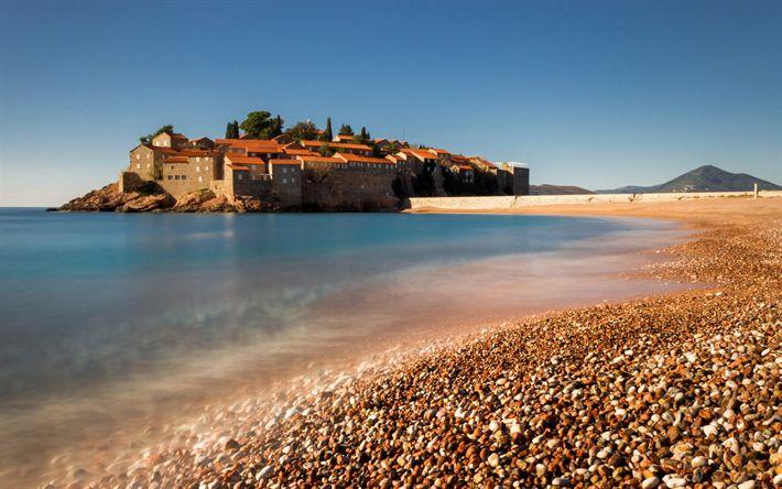 Herunterladen hintergrundbild st stefan, häuser, resort in montenegro, adria, budva riviera, sommer, meer, strand, budva, montenegro