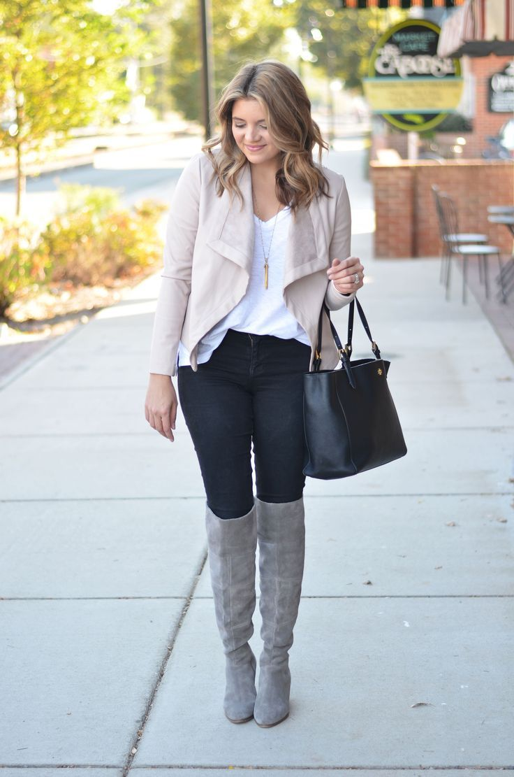 over the knee boots outfit - blush and gray outfit - grey suede over the knee boots with black skinny jeans and blush pink jacket | www.bylaurenm.com
