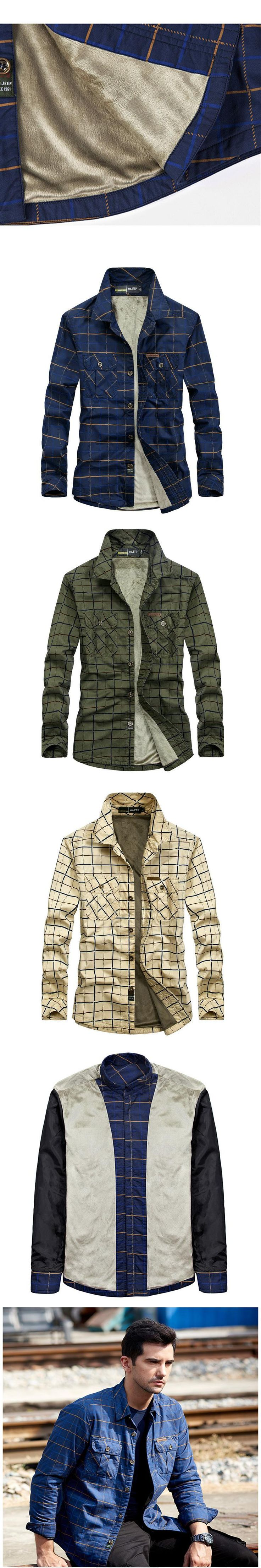 Winter Warm Fleece Plaid Casual Shirt Men Long Sleeve Thick Dress Shirts Cotton British Military Army Khaki Clothes 2609A