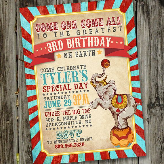 Vintage Circus Birthday Invitation PRINTABLE Circus by partymonkey