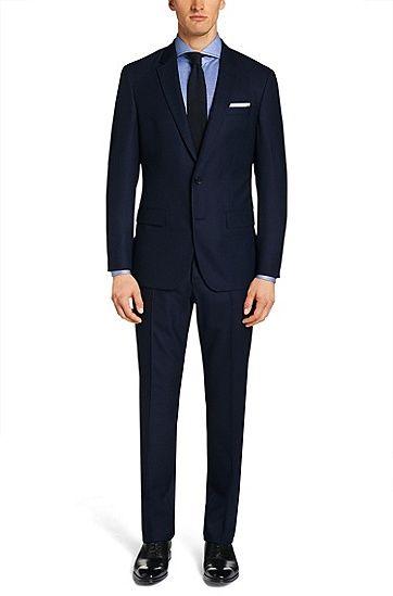 Slim-fit suit in new wool: 'T-Harvers1/Glover', Dark Blue