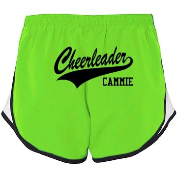 Cammie the Cheerleader | Know a certain cheerleader on the cheerleading squad who would love to receive a pair of custom shorts designed just for her? Give her something to really cheer about!