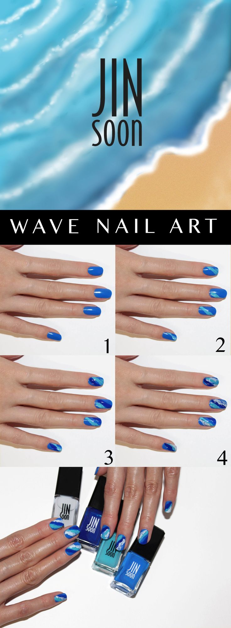 Learn how to get The Wave Nail Art from @JINsoonOfficial Step 1: Apply Power Coat Step 2: Apply Cool Blue over the entire nail Step 3: Apply Poppy Blue diagonally across the nail in the irregular stroke Step 4: Apply Blue Iris diagonally across the nail next to poppy blue overlapping a part of it in an irregular shape Step 5: Apply Kookie White in uneven strokes, diagonally across the nails. Step 6: Apply Top Gloss over the entire nail to finish the look! #Sephora #howto #nails #nailart…