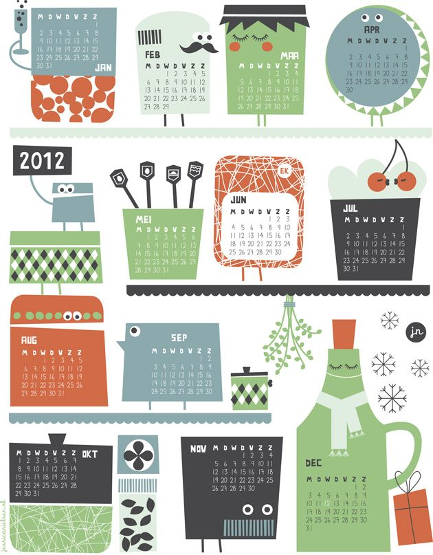 A quirky, fun, free printable calendar.