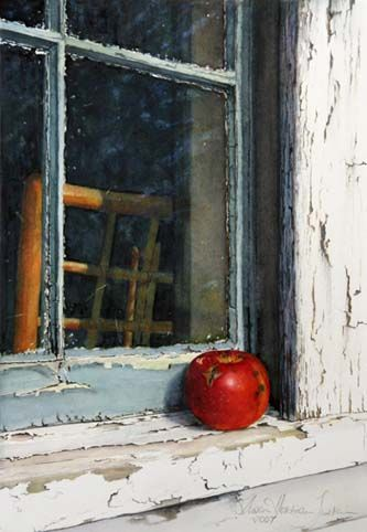 Artist SusanHarrison Tustain | Windfall - watercolor painting by Susan Harrison-Tustain - red apple ...