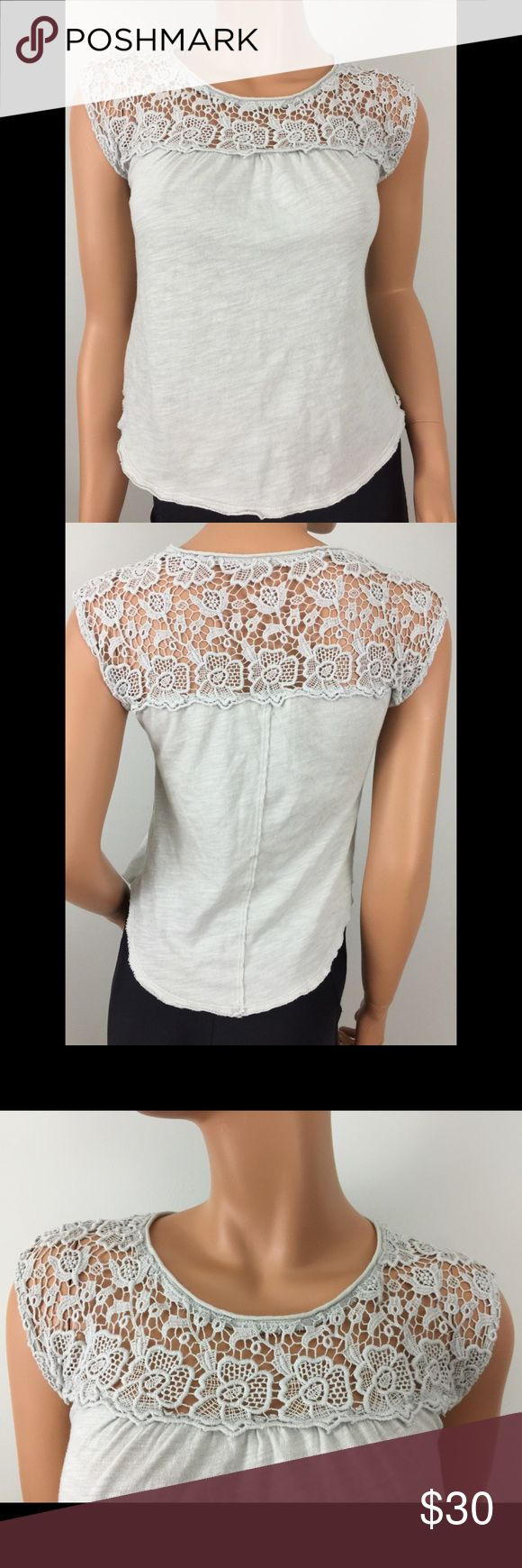 """Abercrombie & Fitch Crochet Tee Light Gray Small Excellent condition! Material is 60% cotton and 40% modal. Measures 16"""" armpit to armpit and 20.5"""" from center of back neckline to bottom hem. Abercrombie & Fitch Tops Tees - Short Sleeve"""