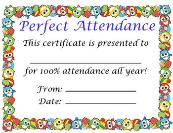 Printable attendance award to celebrate perfect student attendance