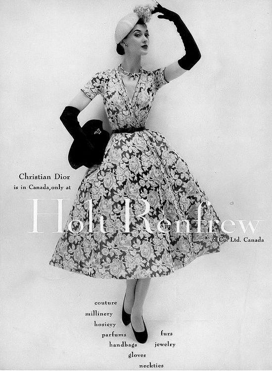 1952 Barbara Mullen in dress by Christian Dior at Holt Renfrew & Co.Ltd.