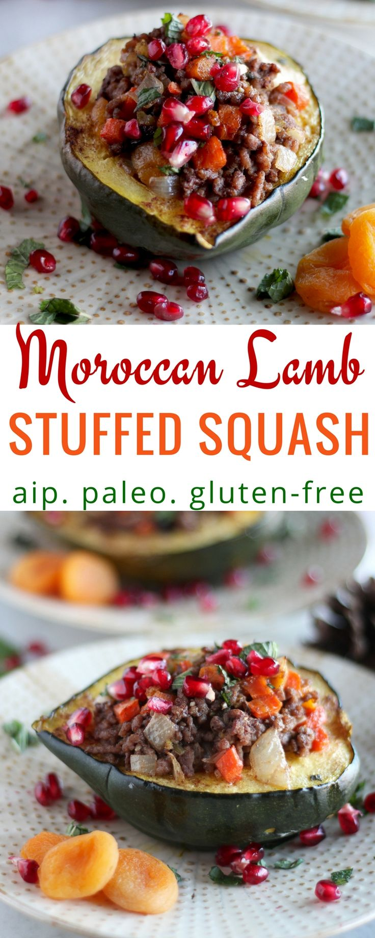 Paleo Moroccan Lamb Stuffed Squash (AIP) - This grain-free, AIP meal features acorn squash, grass-fed ground lamb, and a blend of veggies, fresh mint, dried fruit, cinnamon, and juicy pomegranate seeds for an exotic Moroccan feel. | fedandfulfilled.com
