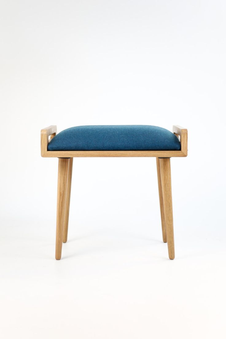 Stool / Seat / stool / Ottoman / bench made of solid oak table, oak legs, Upholstered in Blue cool wool by Habitables on Etsy